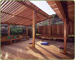 garden structure with redwood timbers