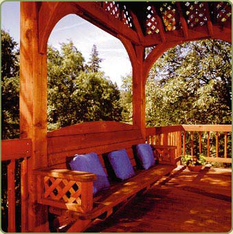 gazebo featuring redwood posts and beams