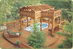 covered hot tub with redwood posts and beam