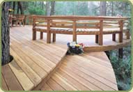 deck railing featuring redwood